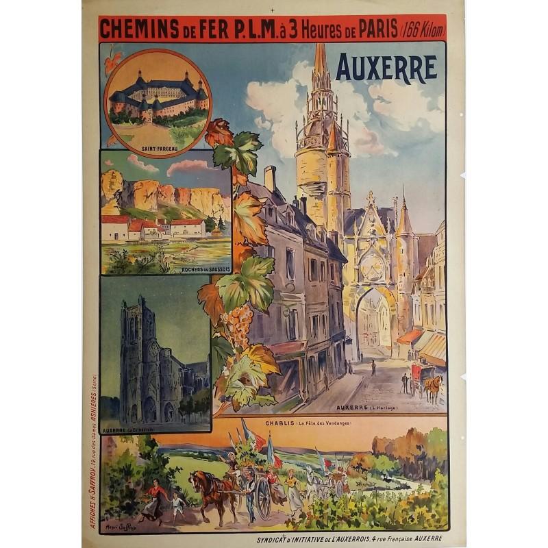Original vintage poster Auxerre Chemin de Fer PLM - Henri SAFFROY