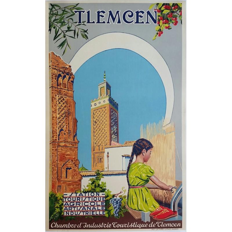 Original vintage poster TLEMCEN Algeria Station touristique Agricole Artisanale Industrielle