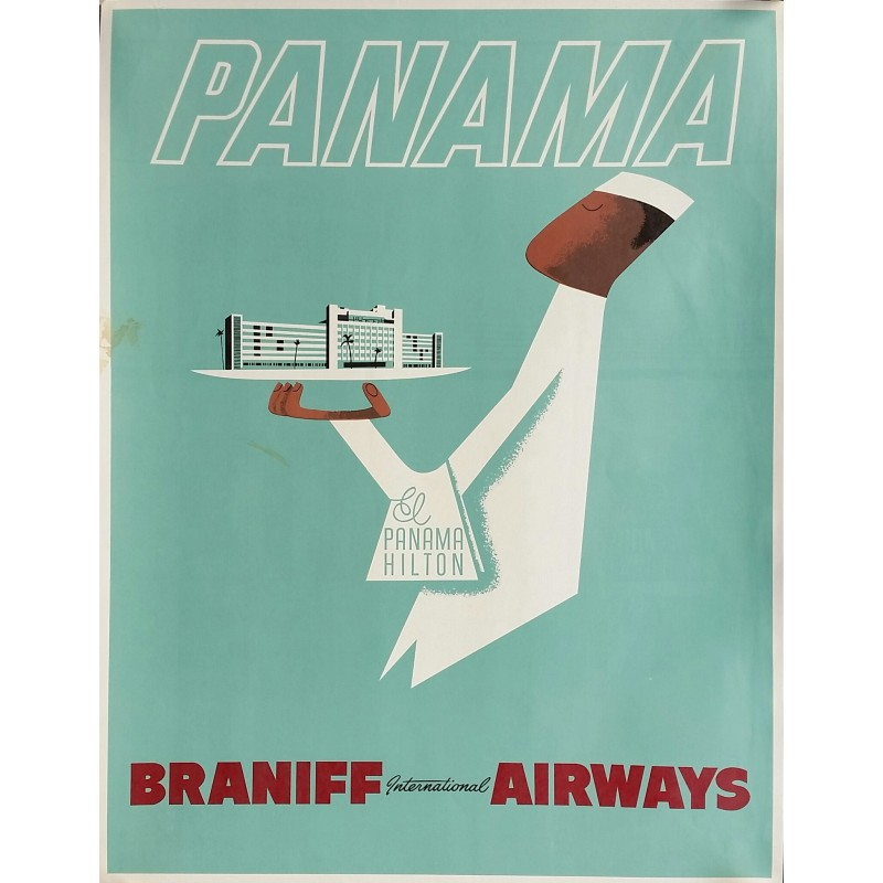 Original vintage travel poster El Panama Hilton Braniff International Airways