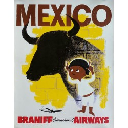 Affiche ancienne originale Mexico Braniff International Airways