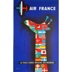 Original vintage poster Air France Le plus long réseau du monde - 1956 - Raymond SAVIGNAC