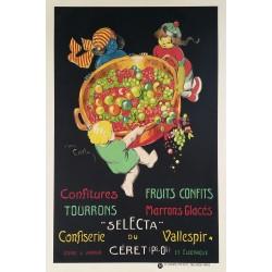 Affiche ancienne originale Selecta Confiserie du Vallespir à Céret - Jean Carlu