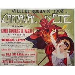 Affiche ancienne originale Ville de Roubaix 1908 Carnaval d'été - Auguste POTAGE