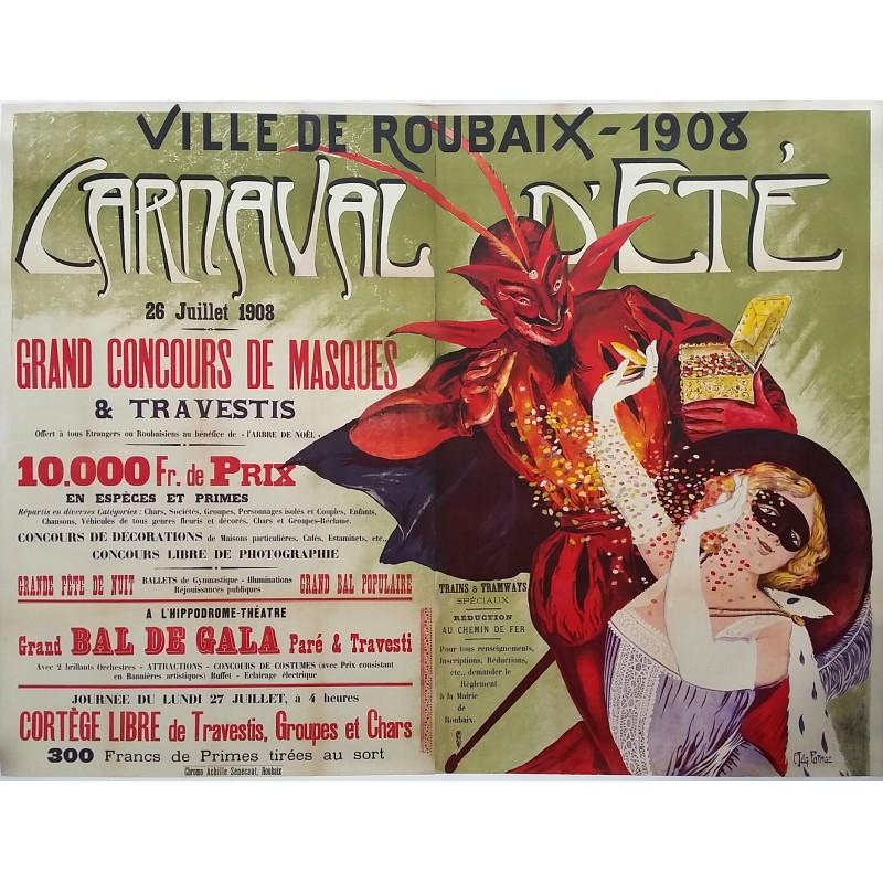 affiche ancienne originale ville de roubaix 1908 carnaval d 39 t auguste potage en vente chez. Black Bedroom Furniture Sets. Home Design Ideas