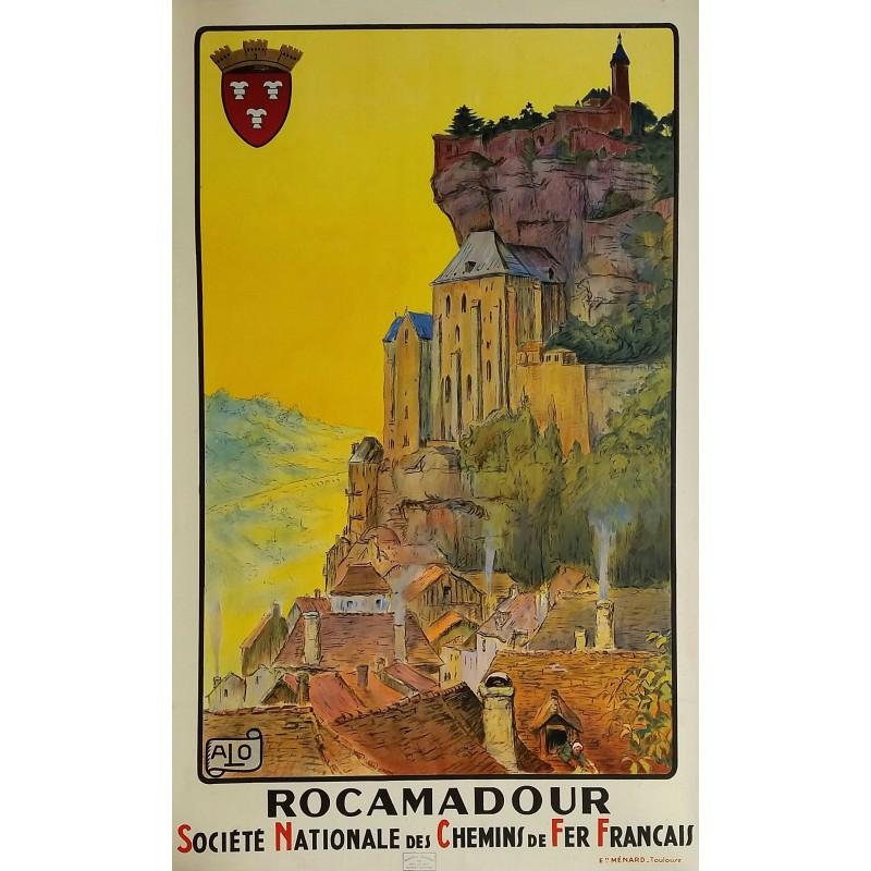 affiche ancienne originale sncf rocamadour french railways 1920 charles alo. Black Bedroom Furniture Sets. Home Design Ideas