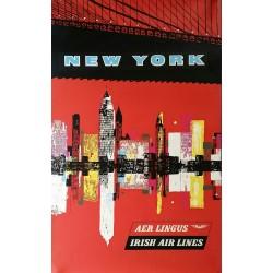 Affiche ancienne originale New York Irish Airlines AER Lingus