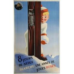 Original vintage poster SNCF 8 jours de neige blanche  -1938 - Roland HUGON