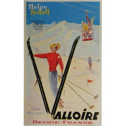 Original vintage poster ski Valloire Savoie France Neige Soleil