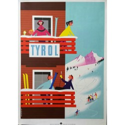 Affiche ancienne originale ski sport d'hiver Tyrol Autriche - 1950s - Classic