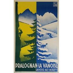 Affiche ancienne originale Pralognan la Vanoise Savoie PLM GORDE