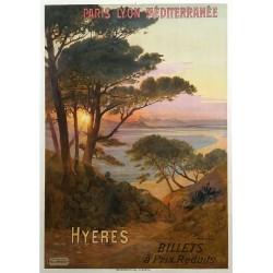 Affiche ancienne originale PLM Hyères HUGO D'ALESI
