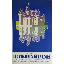 Affiche ancienne originale Les Châteaux de la Loire JACQUELIN