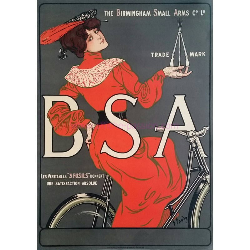 Original vintage poster BSA Birmingham Small Arms Georges GAUDY