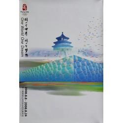 Affiche originale Jeux olympique de Pékin 2008 Temple of Heaven and Watercube