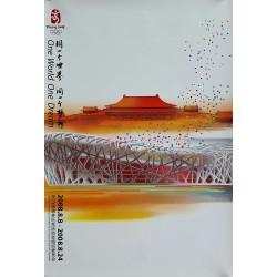 Affiche originale Jeux olympique de Pékin 2008 stade nid d'oiseau