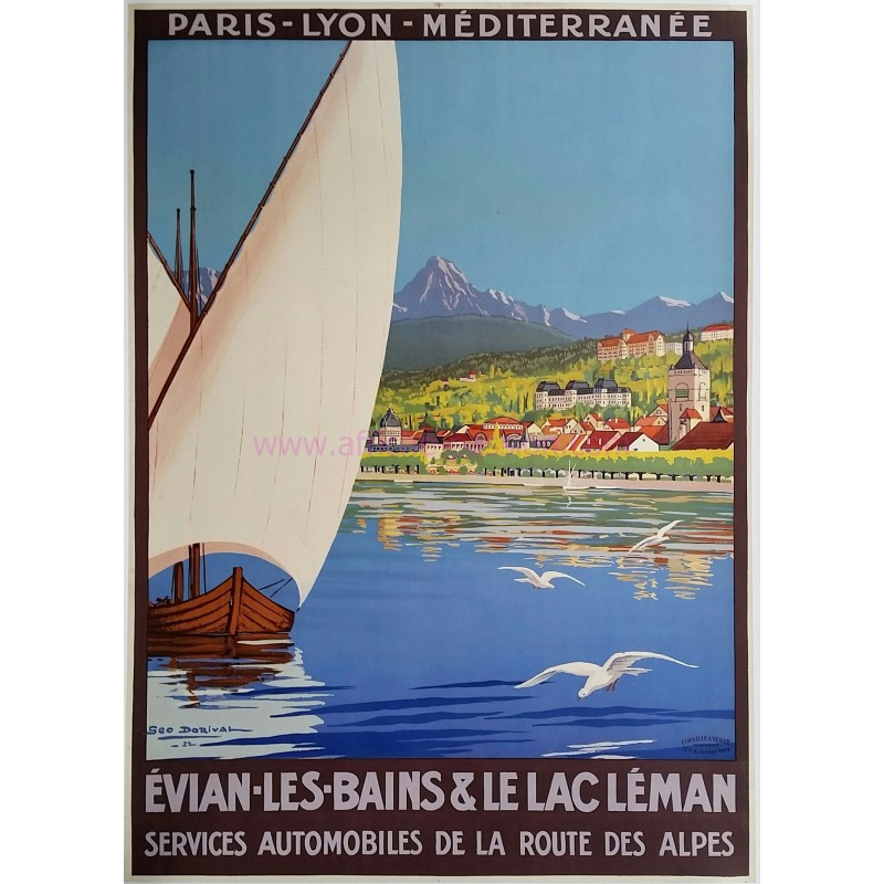 Affiche ancienne originale Evian les Bains et le Lac Léman Geo DORIVAL