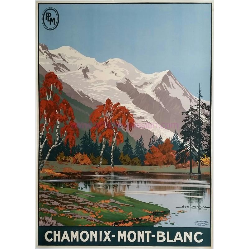 Affiche ancienne originale Chamonix Mont-Blanc Geo DORIVAL