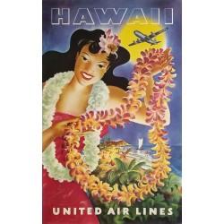 Affiche ancienne originale United Airlines Hawaii Joseph FEHER