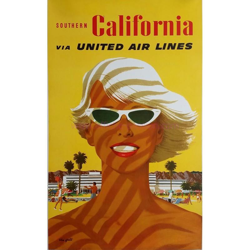 Affiche ancienne originale United Airlines South California Stan GALLI