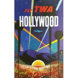 Affiche ancienne originale Fly TWA Hollywood David Klein