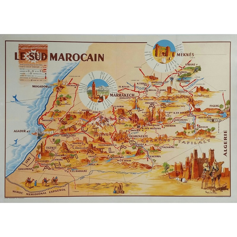 Affiche ancienne originale Le Sud Marocain Perceval DELAYE