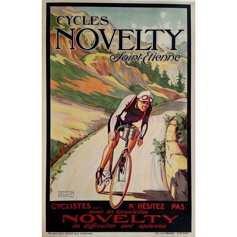 Affiche ancienne originale Cycles Novetly Saint-Etienne Martin DUPIN