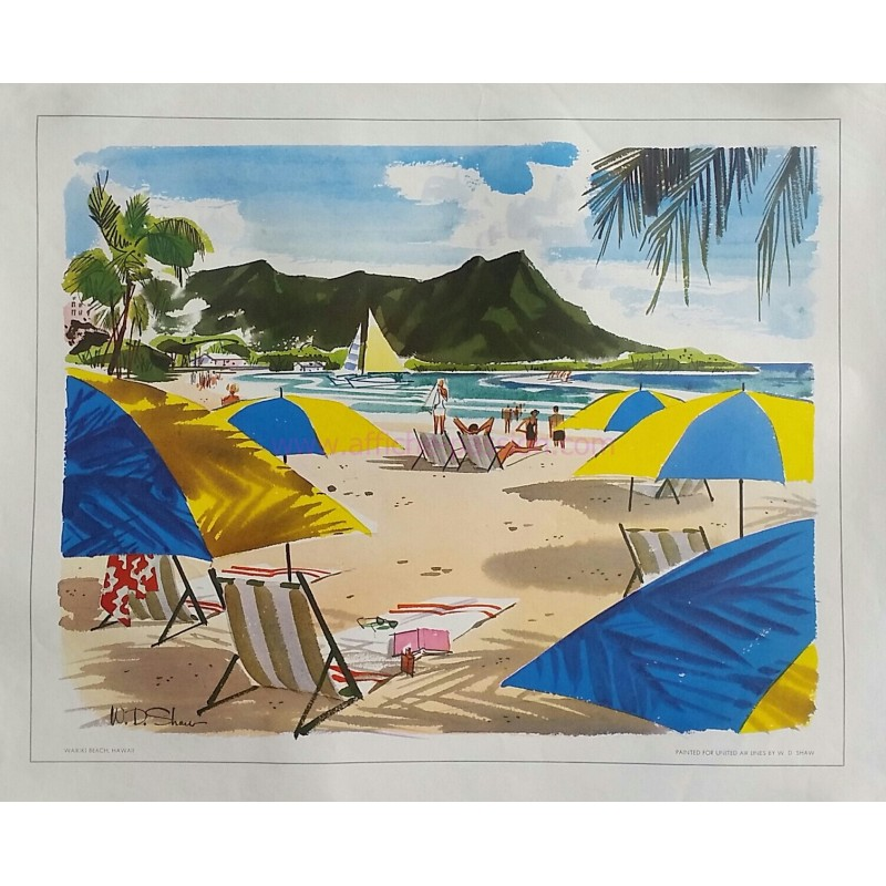 Affiche ancienne originale Waikki beach Hawaii painted for United Airlines - W D SHAW