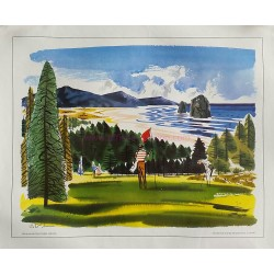 Affiche ancienne originale Neahkahnie Golf course Oregon painted for United Airlines - W D SHAW
