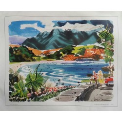 Affiche ancienne originale Kaliki Wai Hawaii painted for United Airlines - W D SHAW