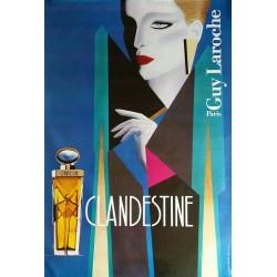 Affiche ancienne originale Clandestine Guy Laroche Razzia Gérard Courbouleix