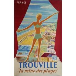 Original vintage poster Trouville La reine des plages SNCF Lobrot