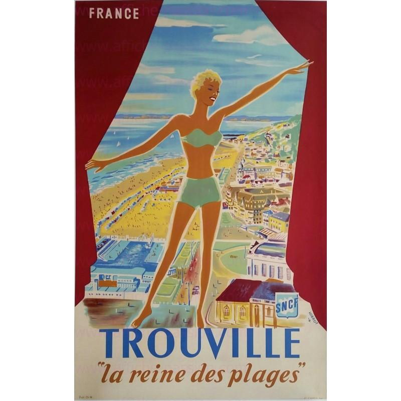 Affiche ancienne originale Trouville La reine des plages SNCF Lobrot