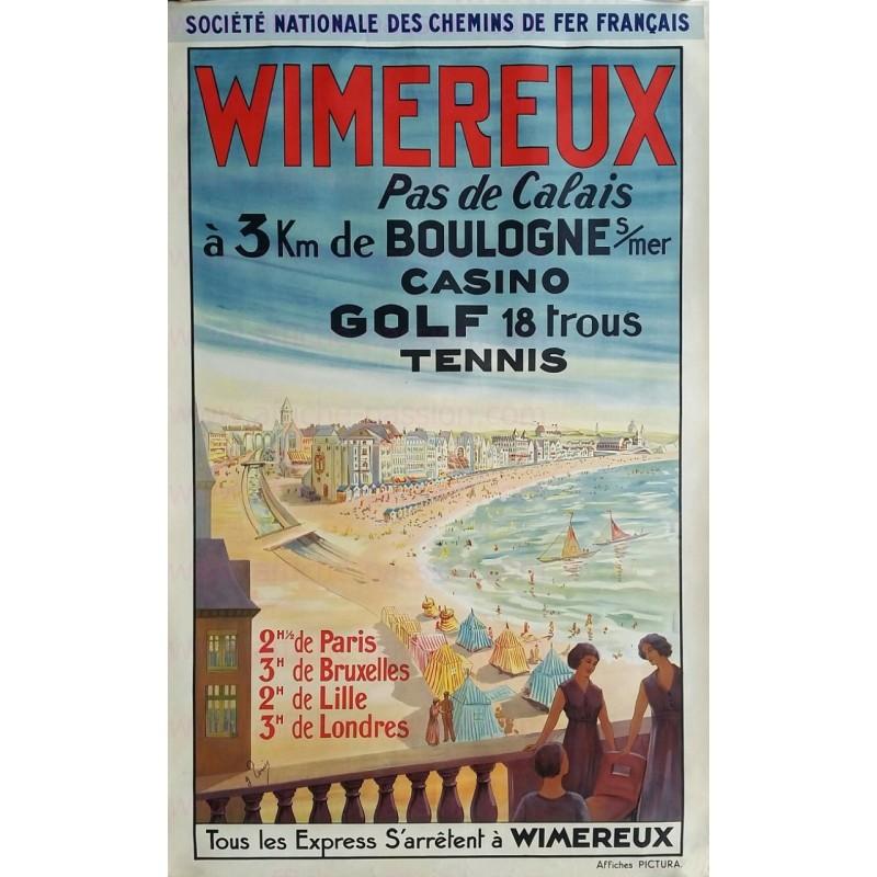 Affiche ancienne originale Wimereux Casino Golf Tennis Chemin de fer