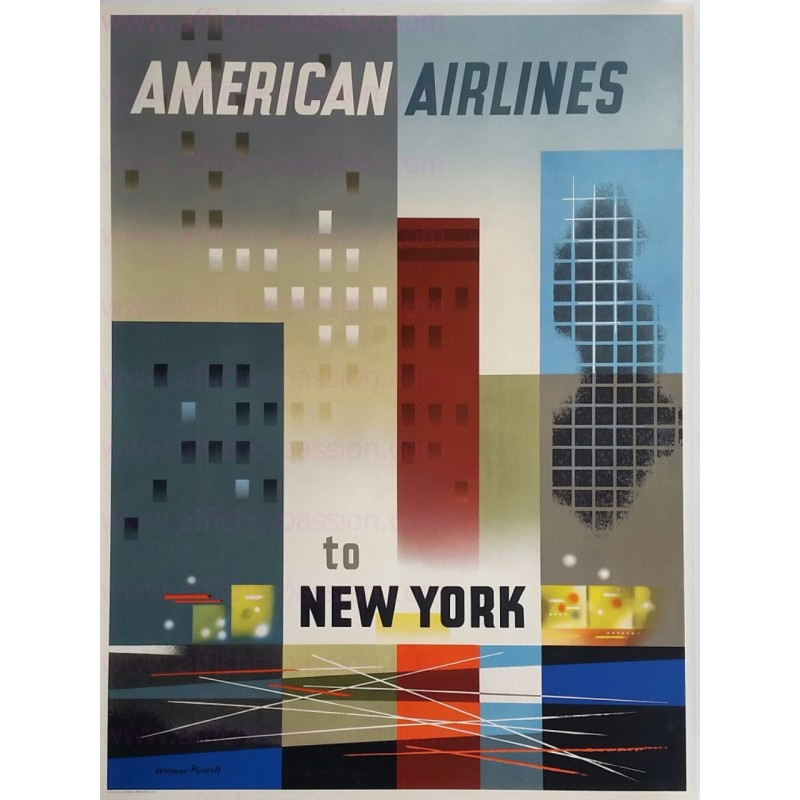 Affiche ancienne originale American Airlines New York Weimer PURSELL
