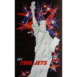 Original vintage poster TWA NEW YORK liberty statue David KLEIN