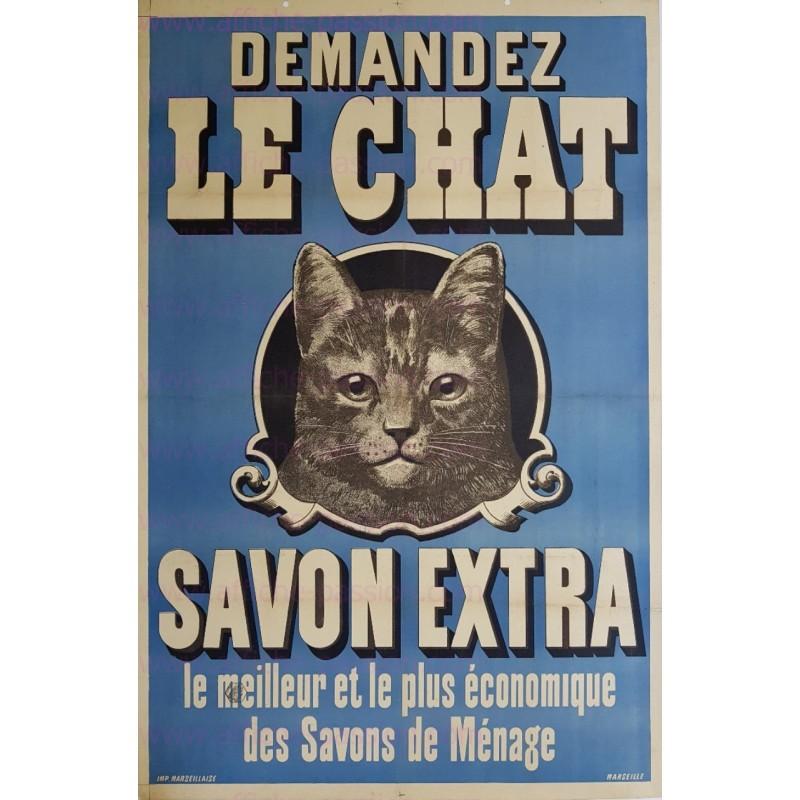 Affiche ancienne originale Demandez le Chat savon extra Marseille