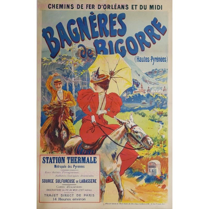 Affiche ancienne originale Bagnères de Bigorre Hautes Pyrénées Ulpiano Checa