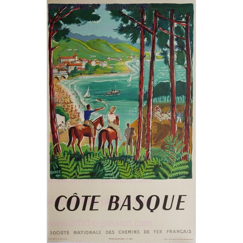 Original vintage poster Côte Basque 1950 Hervé BAILLE