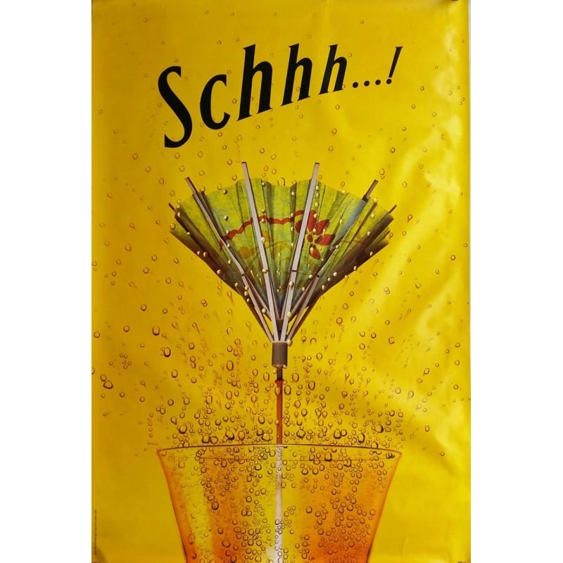 Affiche originale Schweppes Schhh ombrelle 170 cms x 115 cms