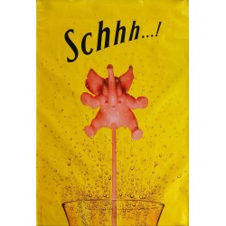 Original poster Schweppes Schhh pink elephant 67 x 45 inches