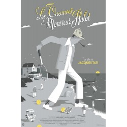 Original silkscreened poster limited Les vacances de Mr HULOT - David MERVEILLE  - Galerie Nautilus Artprints