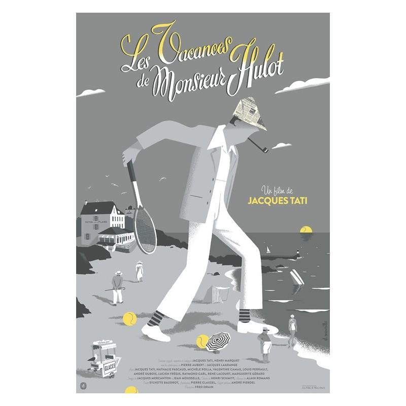 Original silkscreened poster limited Les vacances de Mr HULOT - David MERVEILLE  - Galerie Nautilus Artprints