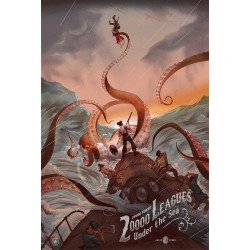 Original silkscreened poster limited 20000 Leagues under the sea - Jonathan BURTON  Nautilus Artprints