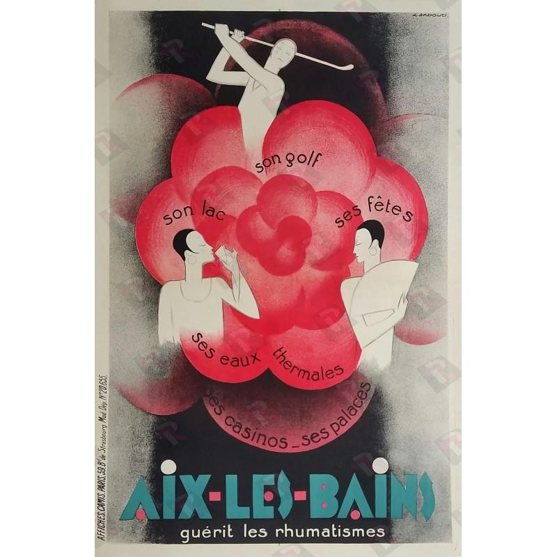 Affiche ancienne originale Aix Les Bains Golf Lac Eaux thermales Casinos - Claude GADOUD