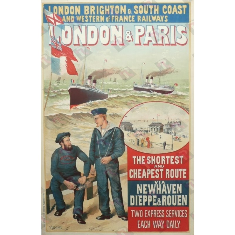 Affiche originale London & Paris the shortest and cheapest route via Newhaven Dieppe & Rouen
