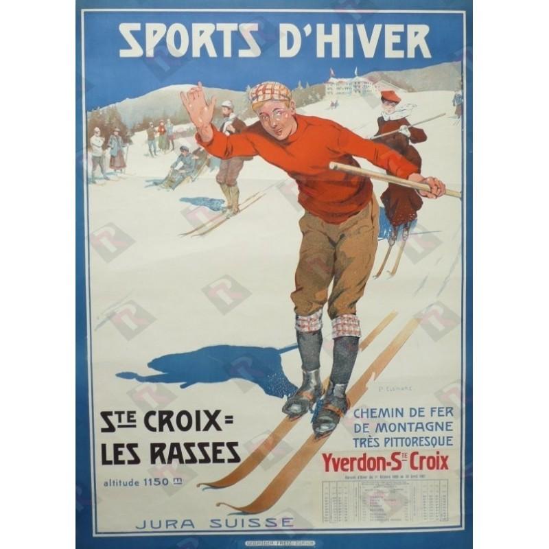 Affiche originale Sport d'hiver Ste croix les rasses - Edouard ELZINGRE
