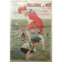Affiche originale Boulogne sur Mer Chemin de fer du Nord - Henri GRAY