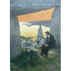 Affiche originale Chemin de fer de l'ouest Normandie Bretagne - Jean MATET