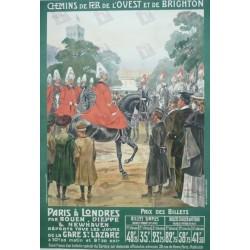 Affiche originale Paris à Londres - Rouen Dieppe et Newhaven - Maurice TOUSSAINT