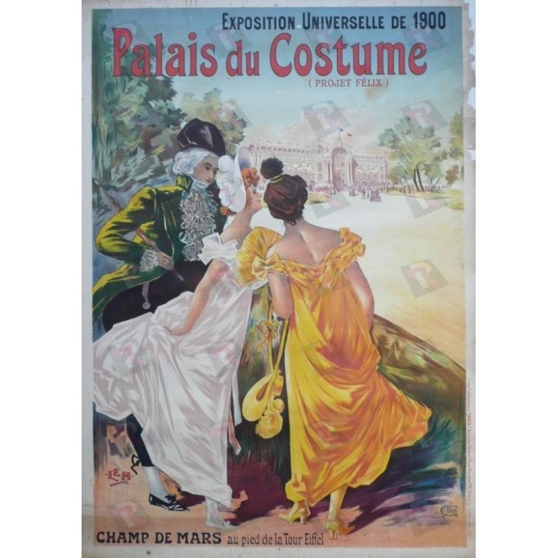 Affiche originale Palais du costume Exposition universelle 1900 Projet Felix - LEM